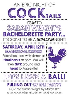 Bachelorette Invite Digital File via Etsy - $10 - C West Designs
