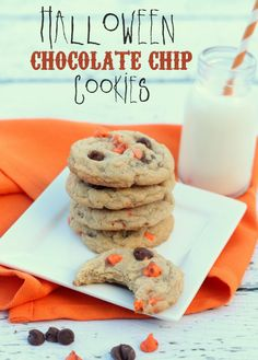 Delicious Chocolate Chip Cookies using Halloween Chocolate Chips. #halloween