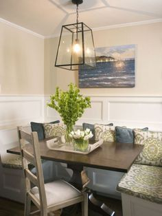Built-in dining area, brilliant idea for a small room! Seats could have storage built in underneath. #dining #storage #fitted Designed by // Liz Carroll. More info http://www.ivillage.com/fall-home-decor-trends-0/7-b-486289