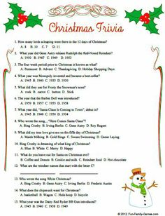 christmas trivia questions and answers | Christmas Quiz Questions And ...