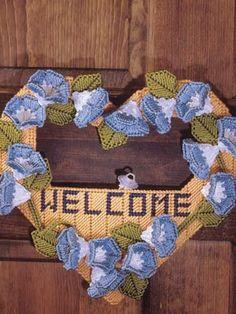 morning glories, canva pattern, canva craft, plastic canvas crafts, craft patterns, plastic canvas patterns, morn glori, glori wreath, canvases