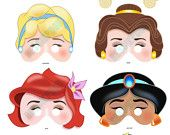 DISNEY PRINCESS PARTY Printable Mask Collection by BessiePooh. $12.00, via Etsy.
