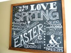 why we love spring chalkboard
