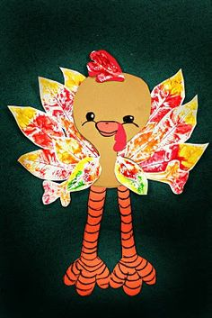 leaf print turkey@smartclass  This has a different look from so many of the turkey crafts I see.