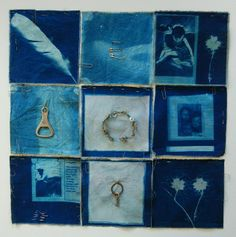 love the idea of sewing objects onto these cyanotypes!