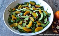 Superfood Salad with Spinach, Avocado, Pomegranate and Oranges superfood salad