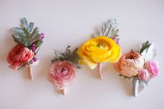ranunculus boutonnieres, photo by She Wanders Photography http://ruffledblog.com/del-mar-powerhouse-wedding #grooms #boutonniere