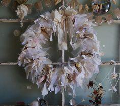 Burlap and Linen Rag Wreath #by FunkyJunkyArt