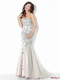Sparking 2013 Sweetheart Mermaid Crystal Appliqued Tulle Long Prom Dresses/Evening Dresses