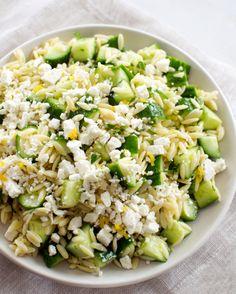 Lemony Orzo Pasta Salad With Cucumber and Feta.