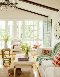 cottage living room, mint, red, cream