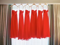 Red Bridesmaids Dresses   photography by http://nancyrayphotography.com