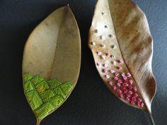 embroidery on magnolia leaves