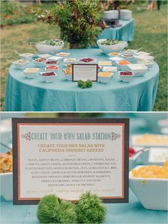 Cute and yummy create your own salad option at wedding reception. #saladbar #weddingreception #weddingchicks Caterer: Thomas John Events ---> http://www.weddingchicks.com/2014/05/07/amazing-floral-ideas/