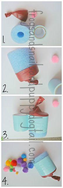 DIY Pool Noodle Pom Pom Shooter FSPDT.  May be the best homemade toy I've ever seen!