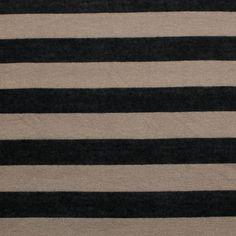 Black and Mocha Stripe Cotton Jersey Blend Knit Fabric