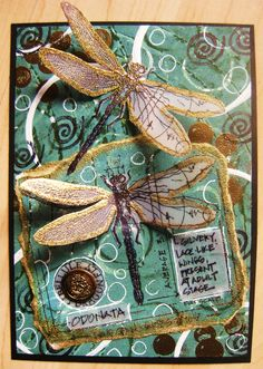 Using the Tim Holtz dragonfly blueprint stamp