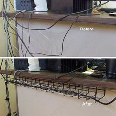 Under #Desk #Cable #Tray #BeforeAndAfter - clean up the #clutter with this simple but effective solution for #CableManagement.