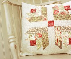 Tapestry Quilted Pillow Cover READY TO SHIP by CottonBerryQuilts