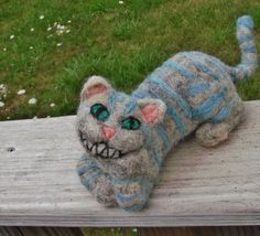 Alice in Wonderland Needle felt Cheshire Cat by MarchHareCreations, $34.00