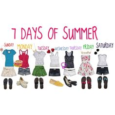 SEVEN DAYS OF SUMMER, created by harajukulover101 on Polyvore