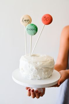 macaron pop cake topper with edible writing