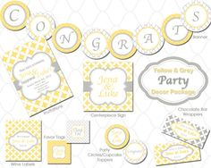 love shower ideas, parti packag, colors, grey parti, bridal shower, babi, decorations, printabl yellow, yellow and grey party