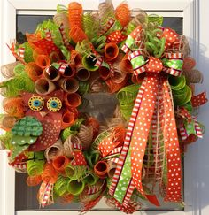 Green Orange Burlap Spiral Mesh Owl Wreath by CraftinessCreations, $80.00