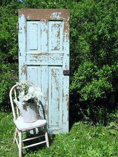 Beautiful blue, chippy paint, door.