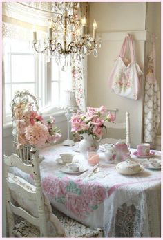 dining rooms, table settings, tea time, cottag, shabby chic, shabbi chic, teas, kitchen, parti