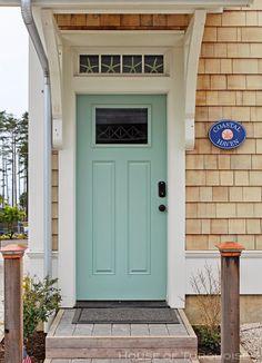 Benjamim Moore Wythe Blue on door and BM White Dove on trim