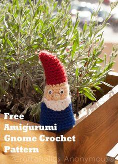 Free Gnome Crochet Pattern. Such a cute little guy!