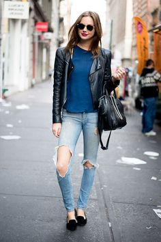 jean, fashion, blue, brick, street styles, lipstick, leather jackets, style blog, street chic