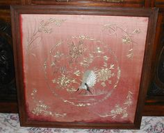 Wonderful Gold & Silver Thread Embroidered Rose Pink Silk, Oriental, Framed