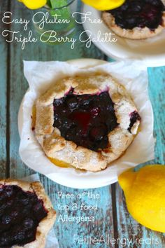 Gluten Free Triple Berry Galette-PetiteAllergyTreats.blogspot.com  Super easy bursting with berries! #glutenfree, #blueberry, #pie, #dessert...