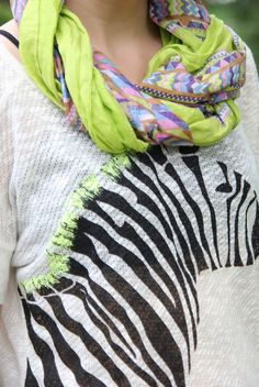 Thrift and Shout blog; mostly thrifted outfit. scarf, Target top from Goodwill. neons, zebra, tribal print