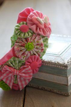 Butterfly Rose Garden - Fabric YoYo Headband. $14.00, via Etsy.