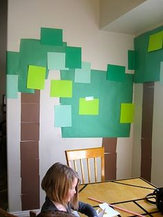 birthday parties, wall decorations, birthday party decorations, minecraft parti, paper trees, parties kids, parti idea, paper decorations, construction paper