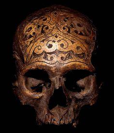 hand carved tribal skull
