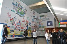Wall graphics at Orly Airport, Paris