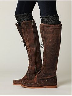 lace up boots with tall socks and leggings. I really like this, but I'd NEVER be able to pull it off.