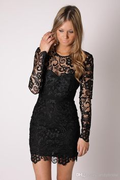 Little Black Lace Cocktail Dresses with Long Sleeves Sheer Jewel Short Party Dresses Illusion Neck Sheath Mini Bridesmaid/Homecoming Dresses