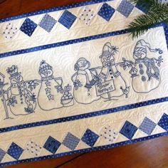 5 Machine Embroidered BlueWork Snowmen March Down your Tabletop, Birdbrain Designs tabl runner, quilt, pattern, snow, birds, table runners, design, christma, embroideri