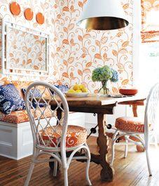 Nice use of Orange in a kitchen nook. #ppgorange