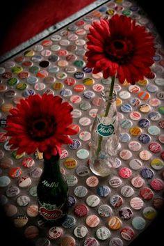 bottle cap table @Lindsey Grande Grande Grande Grande Grande Holt this would be awesome with coke bottle caps!