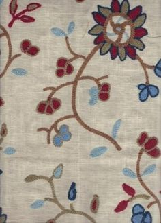 red, blue, linen embroidery