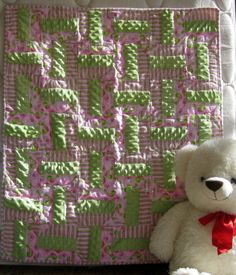 Heartly Pink and Green a handmade baby crib quilt