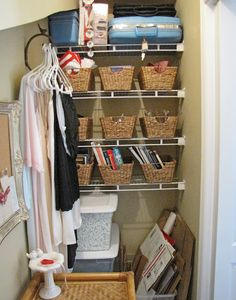 article on how she sells on ebay, etc...this is her closet where she organizes and stores her stuff