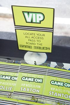 Instant Download  GAME TRUCK Gamer Personalized VIP badges by lulucole, $4.00  #gametruck #party #passes #videogame