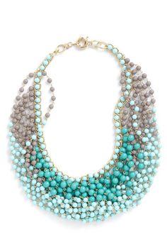 sky blue statement necklace